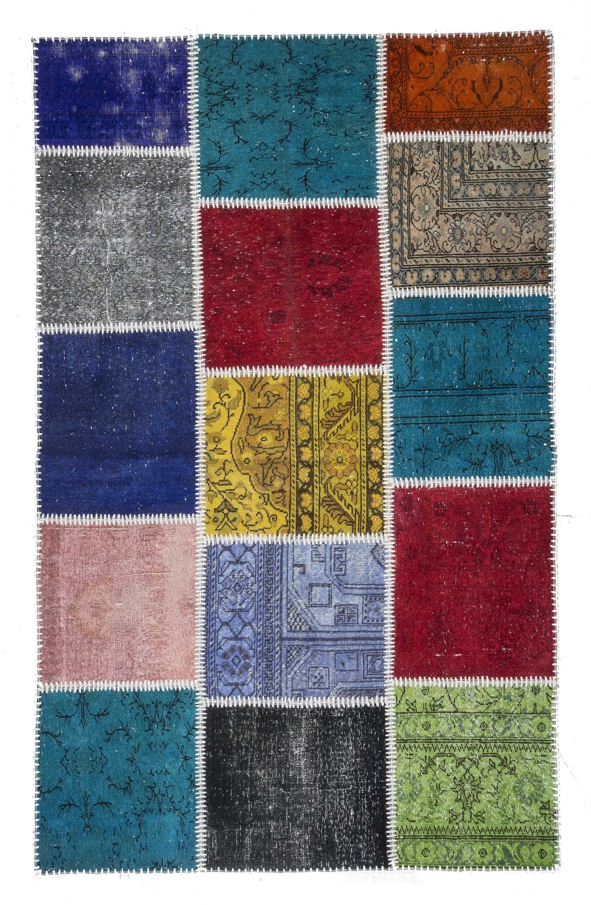 over-dyed turkish patchwork rug - 0455