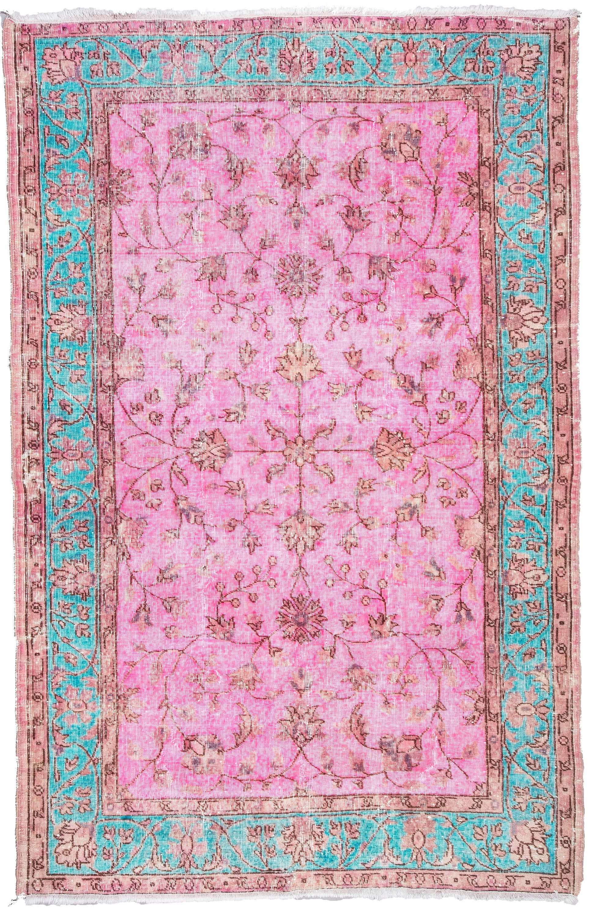 Pink Color Over Dyed Turkish Rug 0642