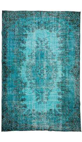 Overdyed Vintage Rug, Turquoise Blue Recycled Rug