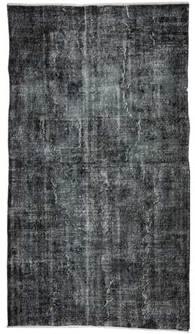 Vintage Over-dyed Black Turkish Rug