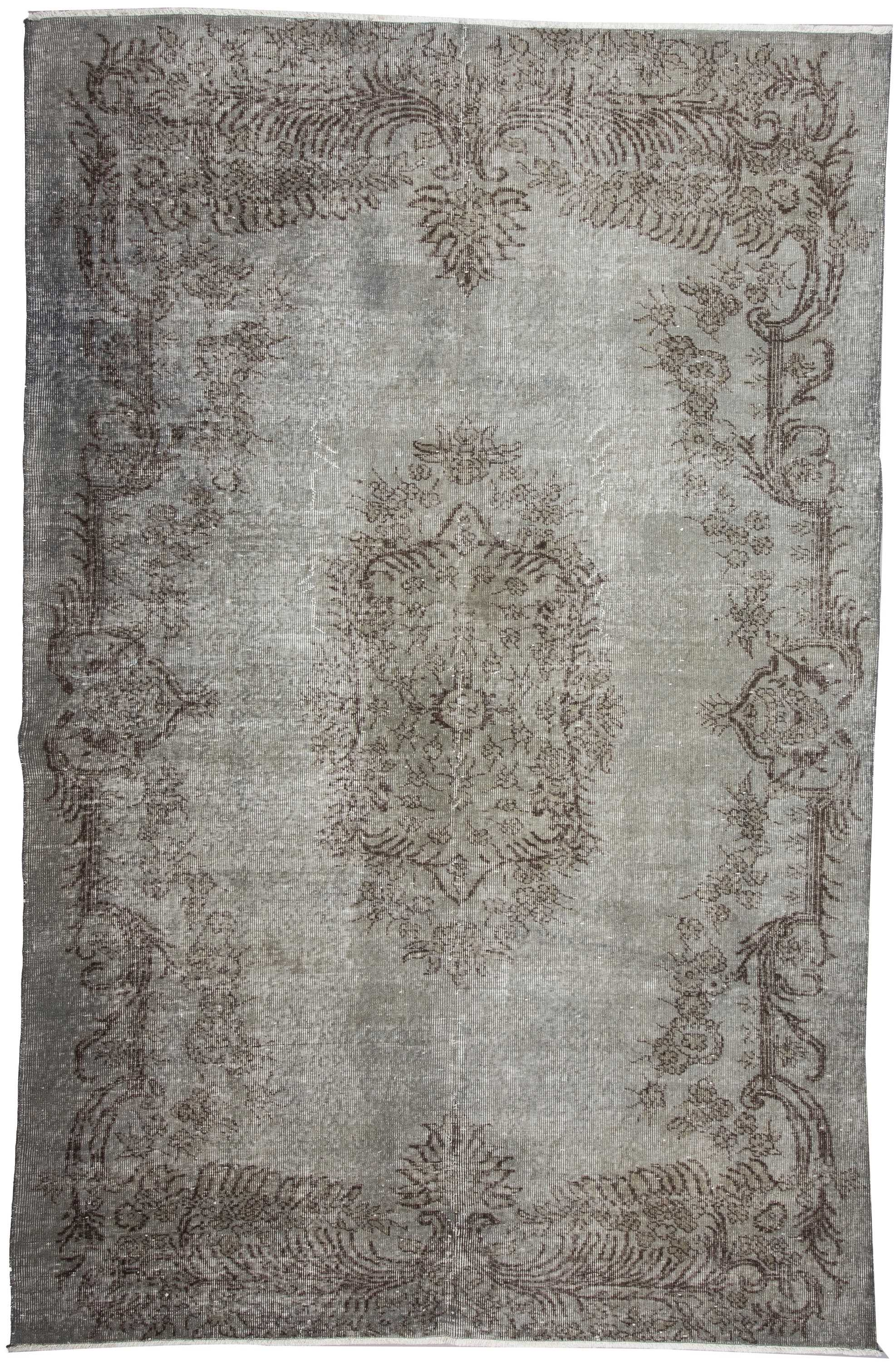 Vintage Over Dyed Gray Turkish Rug