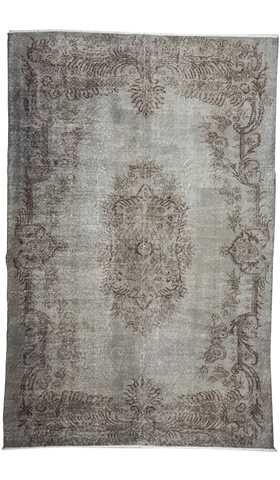 Vintage Over-dyed Gray Turkish Rug