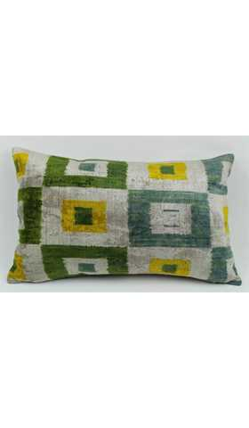 Velvet Ikat Silk Pillow