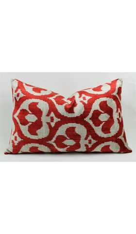 Velvet Silk Ikat Pillow Cover