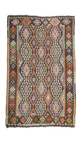Orange, Gray Vintage Antalya Kilim Rug