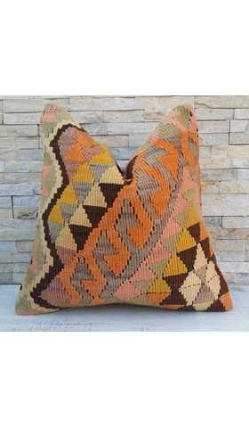 Vintage Turkish Kilim Pillow for the Living Room, Boho Throw Pillow and Rustic Boho Chic Cushion Cover