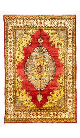 Vintage Kirsehir Traditional Red and Yellow Rug
