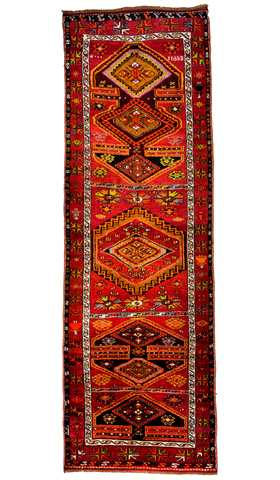Vintage Decorative Turkish Tribal Runner Rug